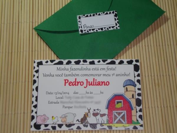 convite fazendinha colorido