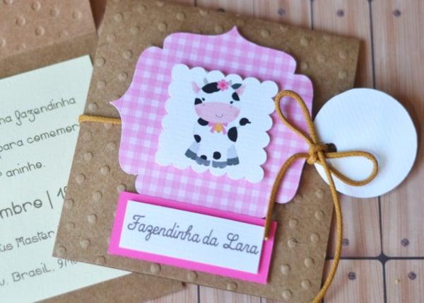 convite fazendinha rosa 1