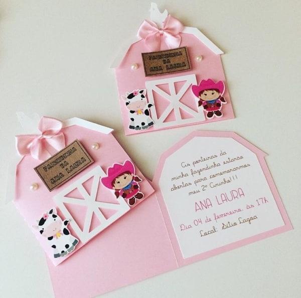 lindo convite rosa