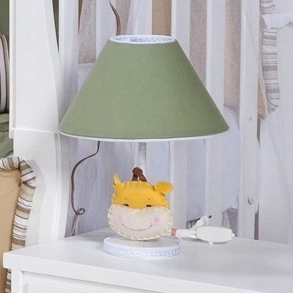 =abajur verde com tema de girafa para quarto de bebe