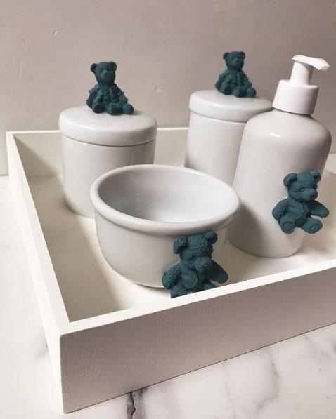 kit higiene branco decorado com ursinhos