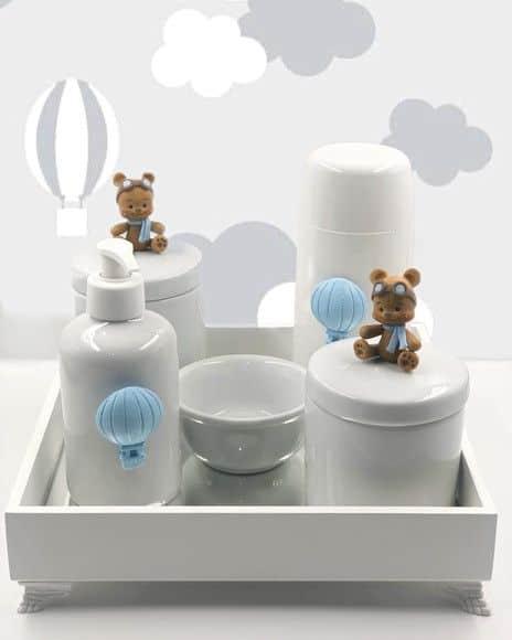 kit higiene de porcelana com ursinhos de biscuit