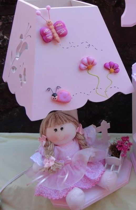 abajur para quarto infantil decorado em biscuit