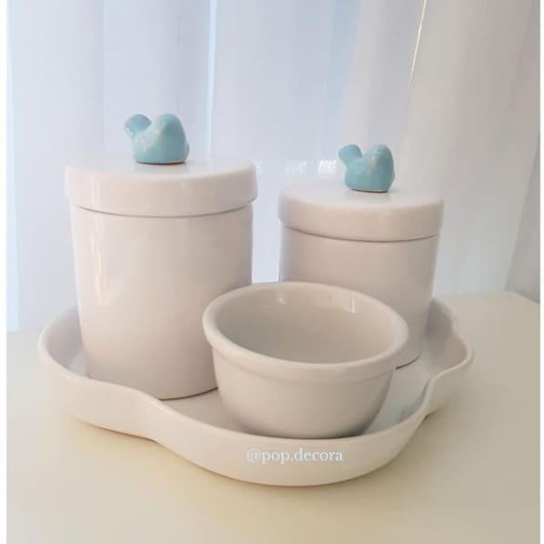 kit higiene branco com passarinhos