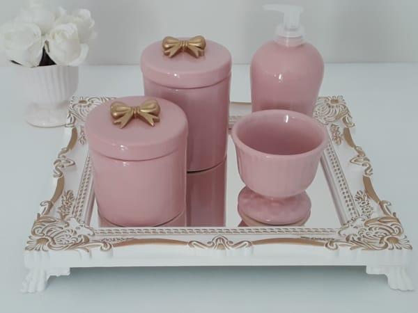 kit higiene em porcelana rosa com laco dourado