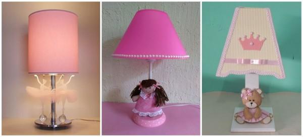 modelos de abajur rosa para quarto de bebe