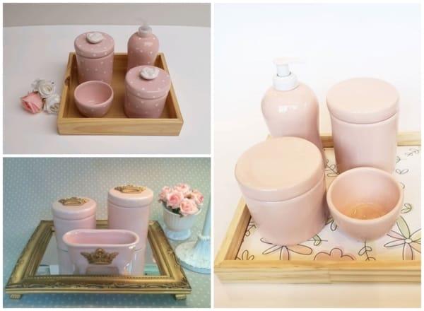 modelos de kit higiene de porcelana rosa