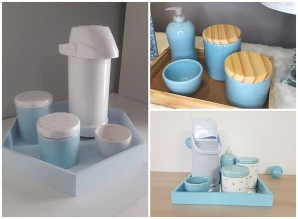 modelos de kit higiene de porcelana azul