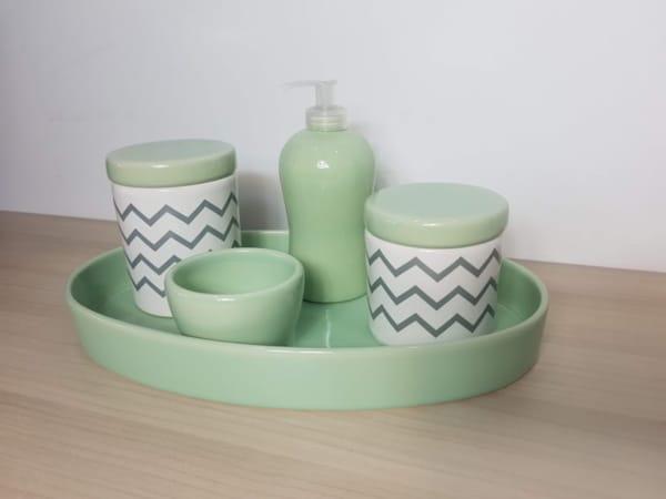 kit higiene verde e cinza para quarto de bebe