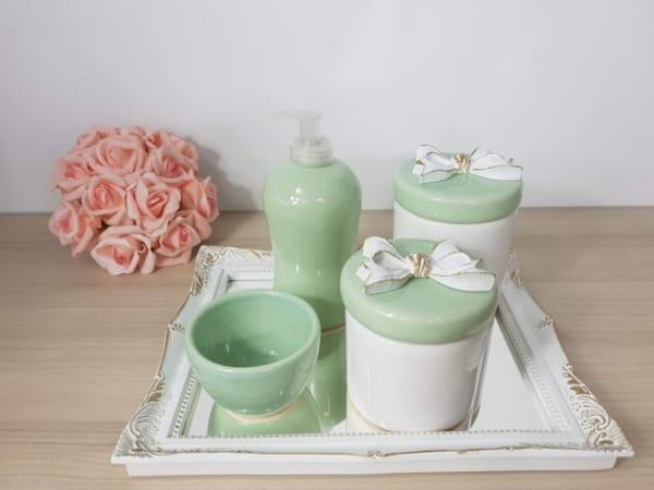 kit higiene de porcelana verde