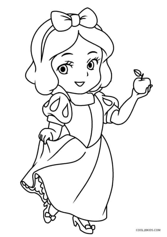 desenho da Branca de Neve cute para pintar