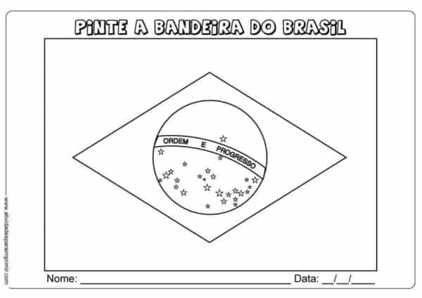 desenho da bandeira do Brasil para colorir