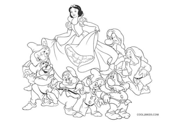 desenho para colorir e imprimir da Branca de Neve com sete anoes