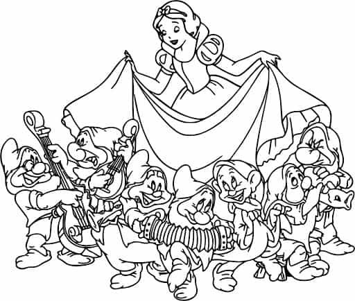 desenho para colorir da Branca de Neve dancando com anoes
