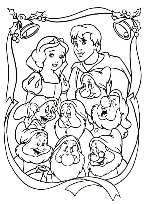 desenho de Natal da Branca de Neve com 7 anoes