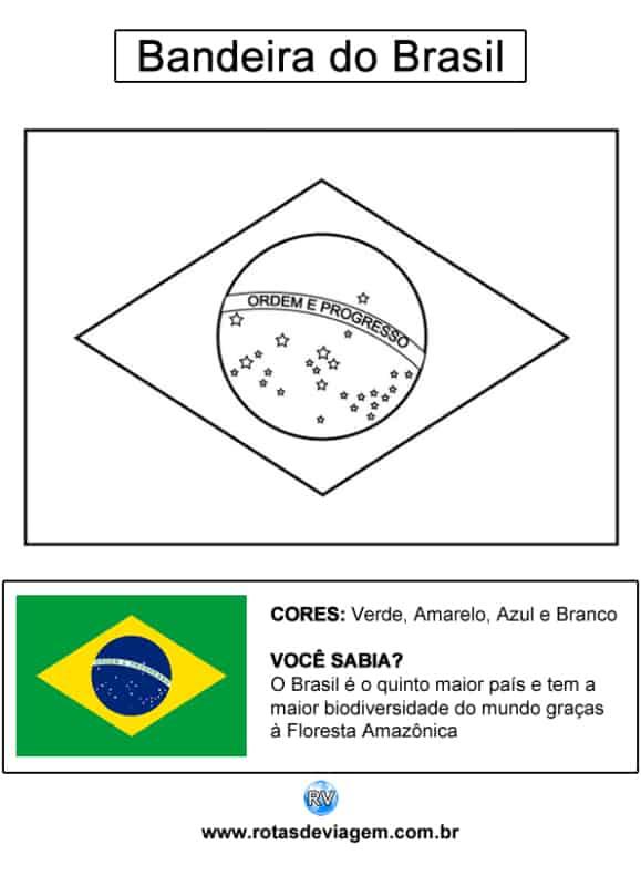 atividade com bandeira do Brasil para colorir