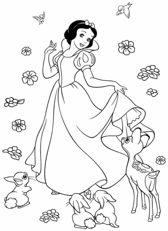 desenho da Branca de Neve com animais para imprimir e colorir