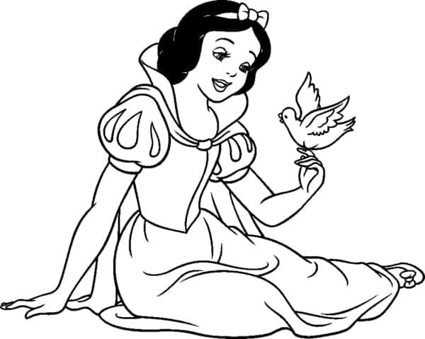 desenho da Branca de Neve com passarinho para colorir
