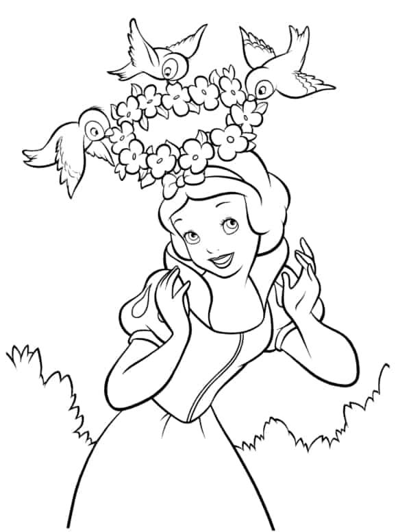 desenho da Branca de Neve com passarinhos para pintar