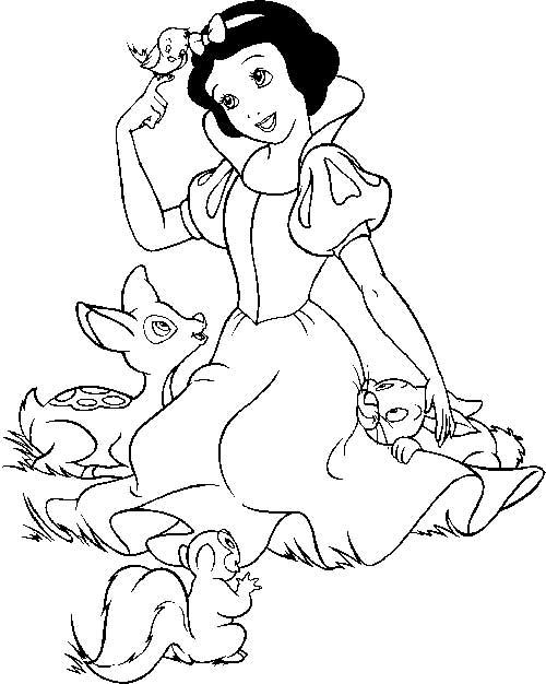 Branca de Neve com animais da floresta