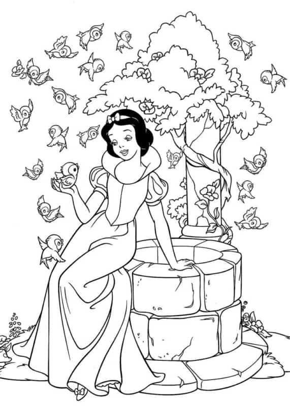desenho para pintar da Branca de Neve com passaros
