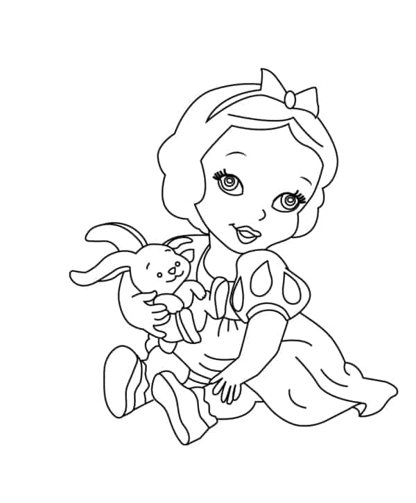 Branca de Neve baby para colorir