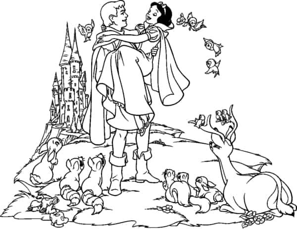 Branca de Neve com principe e animais para colorir