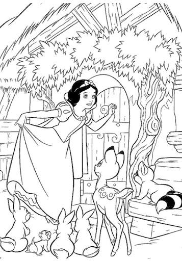 desenho para pintar da Branca de Neve com animais