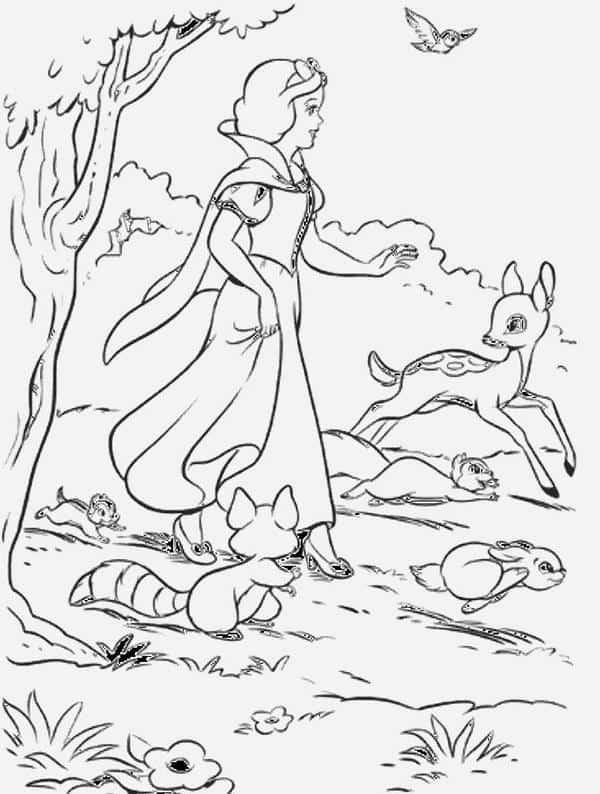 desenho para colorir da Branca de Neve com animais