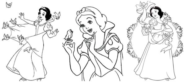 desenhos da Branca de Neve com passarinhos para colorir