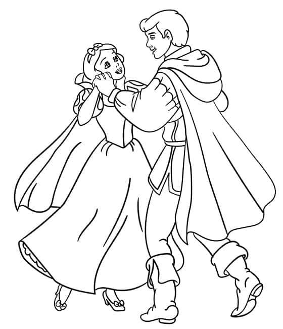 desenho para colorir da Branca de Neve dancando com o Principe