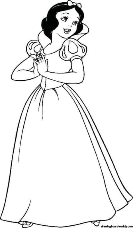desenho simples da Branca de Neve para colorir