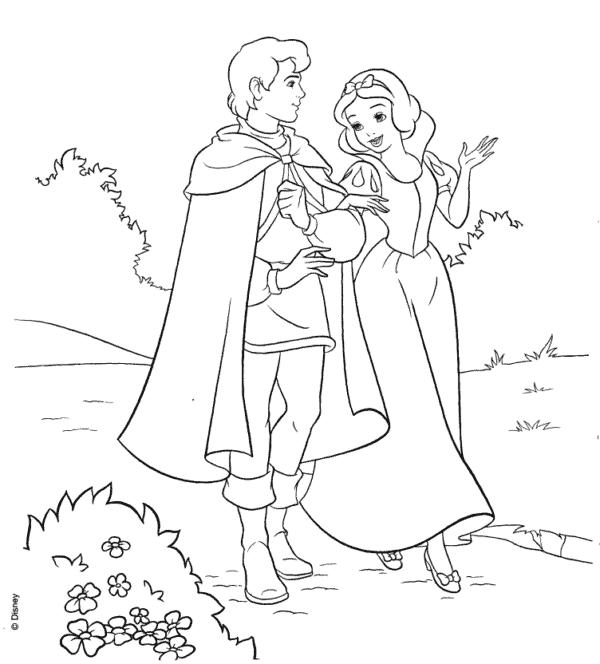 desenho princesa da disney com principe para colorir
