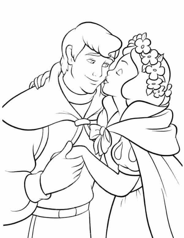 desenho da Branca de Neve beijando o principe
