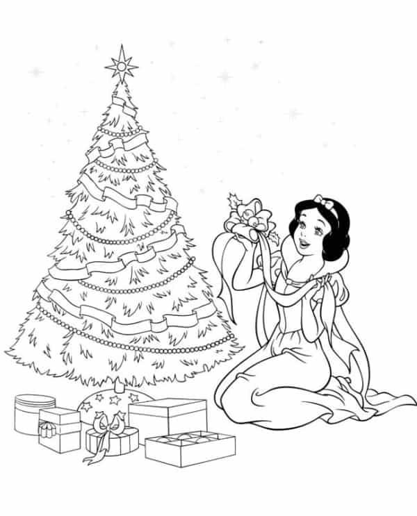 desenho de natal da Branca de Neve