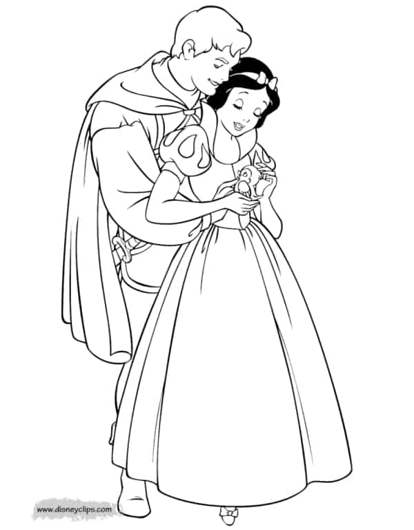 40 desenho da Branca de Neve com principe para colorir