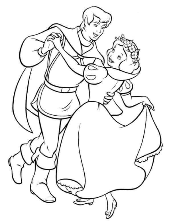 desenho da Branca de Neve dancando com o principe