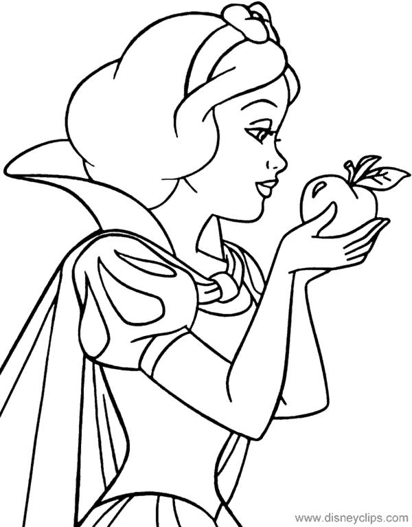 desenho para colorir da Branca de Neve com maca