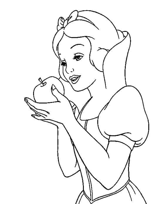 desenho para colorir da Branca de Neve com maca na mao