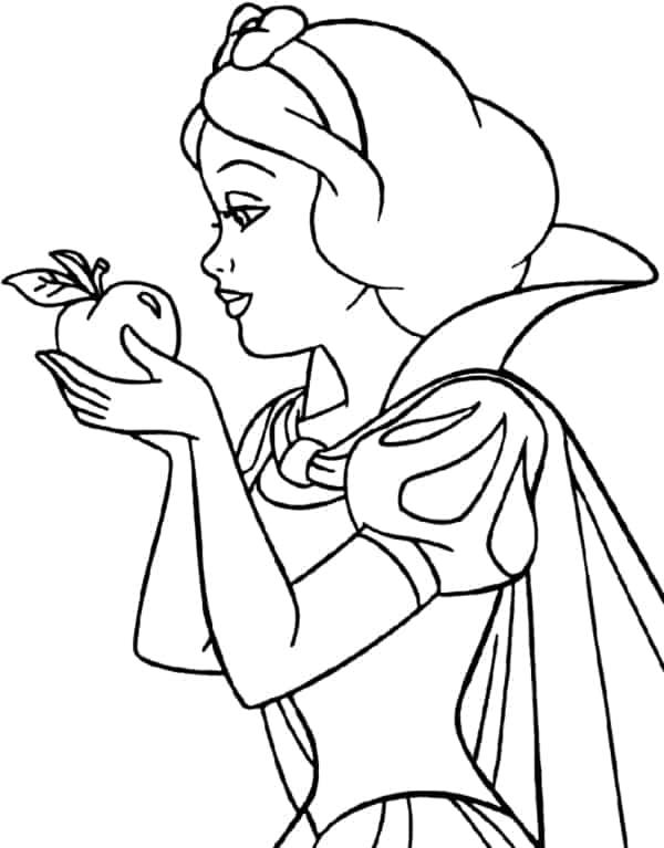 desenho da Branca de Neve segurando maca