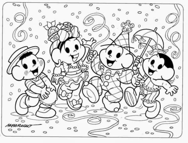 desenho da turma da Monica de carnaval para pintar