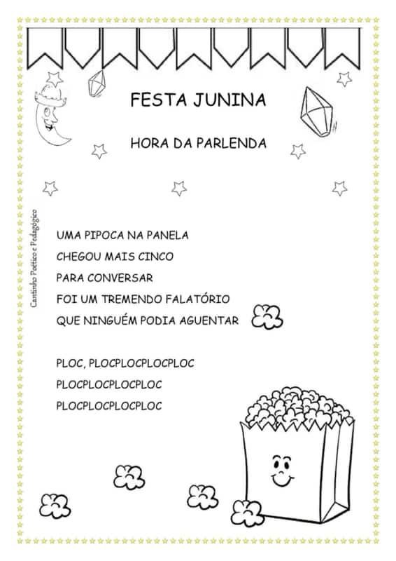 parlenda ilustrada de festa junina para colorir