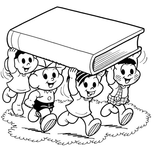 desenho da turma da Monica de volta as aulas para imprimir e pintar