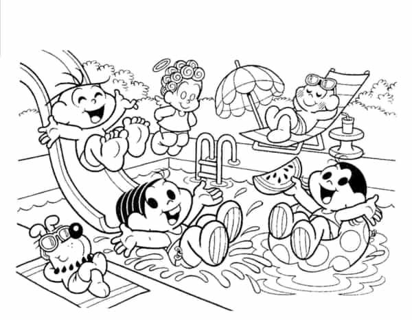 desenho da turma da Monica na piscina para colorir