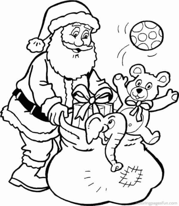 desenho de Papai Noel com presentes para imprimir e colorir
