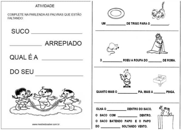 atividades de parlendas ilustradas para completar