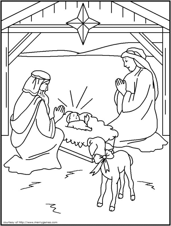 desenho de presepio natalino para colorir