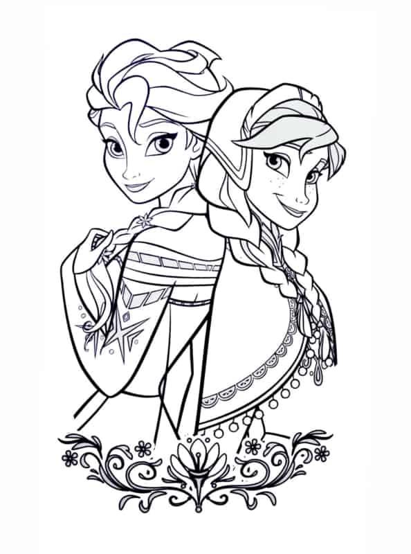 desenho Anna e Elsa para colorir