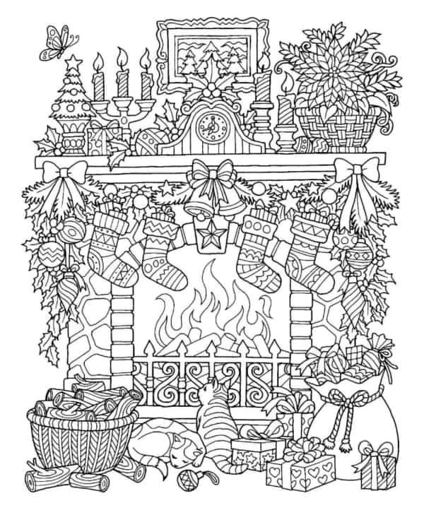 desenho de natal com lareira para colorir