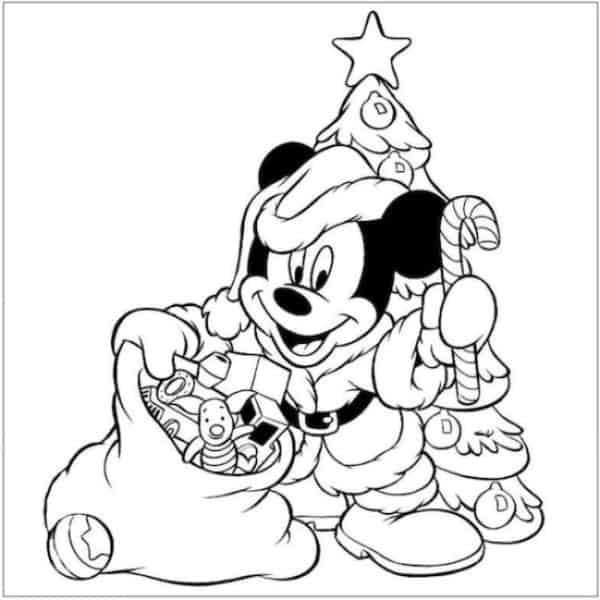 desenho de natal do Mickey para colorir